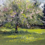 Landscape painting of blossom