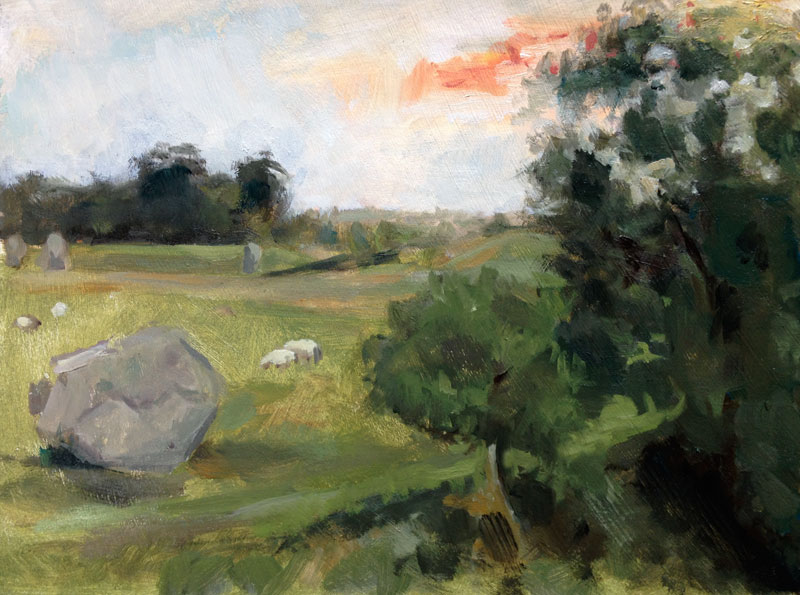 "'Summer Solstice at Avebury'. Oil on gessoed card, 8"" x 6"""