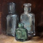 Still life oil painting of old bottles