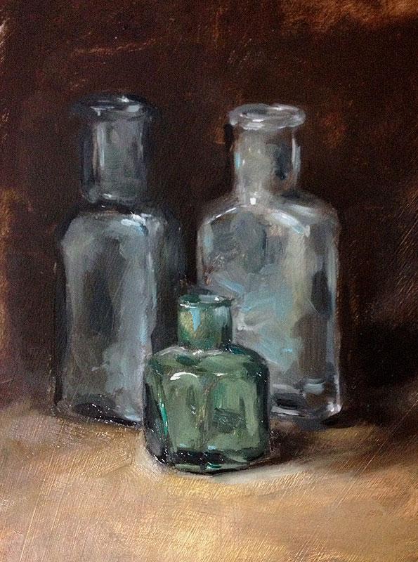 Still life oil painting of old bottles