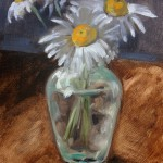 Still life oil painting of daisies in a vase