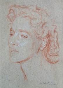 Terracotta sanguine portrait drawing of 'Mrs Siegfried' by Sir William Rothenstein