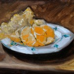 Painting of a peeled satsuma