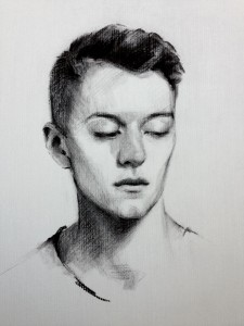 'Callum'. Charcoal on paper, life size.