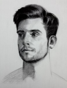 'Angelo'. Charcoal portrait drawing on Roma paper, life size.
