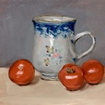 Still life oil painting of delft jug and tomatoes