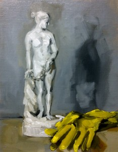"""'Greek Slave and Marigolds'. Oil on panel, 10"""" x 8"""""""