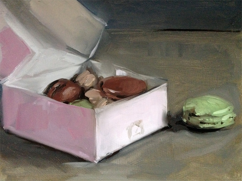 "'Ladurée Macaroons'. Oil on gessoed card, 8"" x 6"""