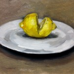 Still life oil painting of a lemon on a plate