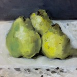 Still life oil painting of three quinces