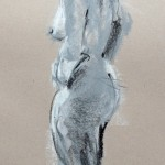 Sketch of nude, pastel on sugar paper