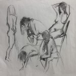 Charcoal figure sketching by Helen Davison