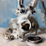 'Year End'. Still life oil painting of a skull and watch by Helen Davison