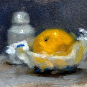Still life oil painting of an orange and pottery bottle by Helen Davison