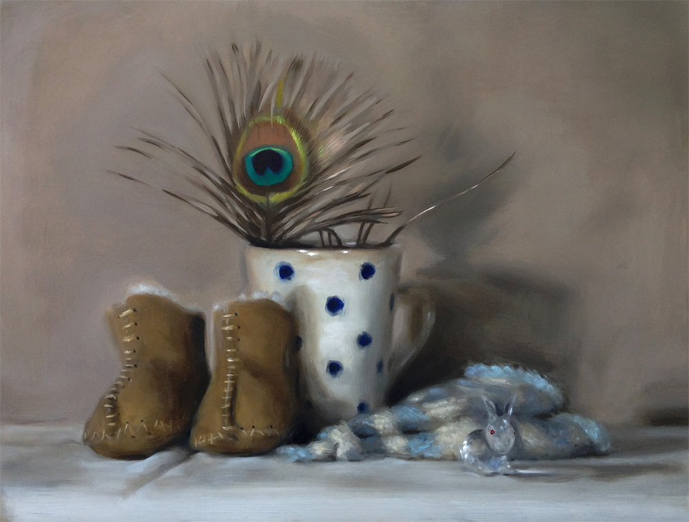 'The Crystal Rabbit and Other Talismans', still life painting by Helen Davison