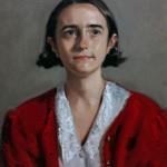 'La Fille Elise'. Oil portrait on linen, life size. 2012 by Helen Davison