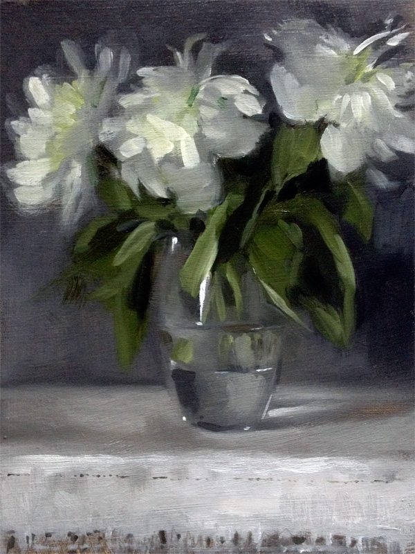 Still life oil painting of going over peonies in a glass vase by Helen Davison