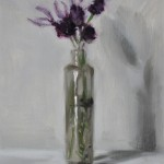 Still life oil painting of lavender in an old glass bottle by Helen Davison