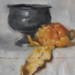 Still life oil painting of a peeled satsuma and pewter goblet by Helen Davison