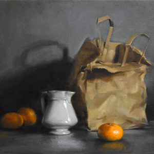 "'White Jug, Brown Bag'. Still life oil painting on linen, 16"" x 20"""