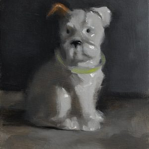 Still life oil painting of a white china dog by Helen Davison