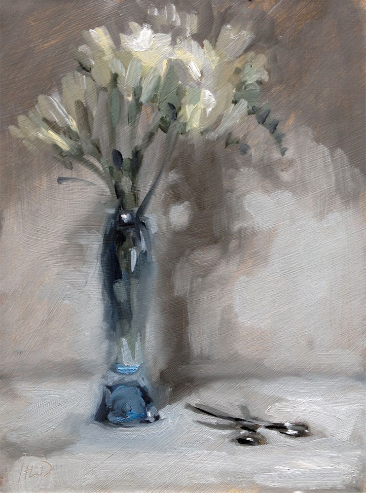 Still life oil painting of freesias in a tall vase by Helen Davison