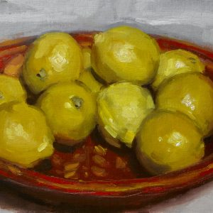 Still life oil painting of lemons in a red dish by Helen Davison