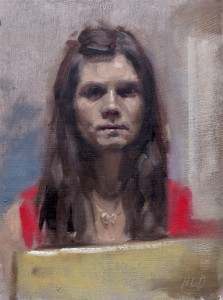 "'Selfie'. Oil on card, 6"" x 8"""