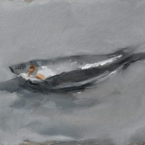 Still life oil painting of sprats by Helen Davison