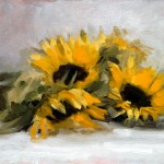 Still life oil painting of sunflowers by Helen Davison
