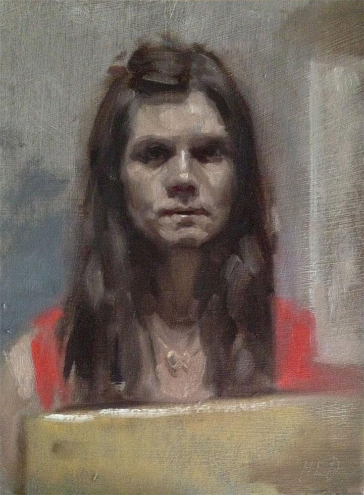 Self portrait oil sketch by Helen Davison