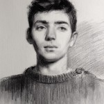 'Caleb'. Life-size portrait drawing. Charcoal on Roma paper