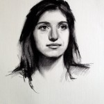 'Clare'. Life-size portrait drawing. Charcoal on Roma paper