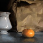 "Detail of 'White Jug, Brown Bag'. Still life oil painting on linen, 16"" x 20"""
