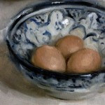 Still life oil painting of eggs in a bowl by Helen Davison