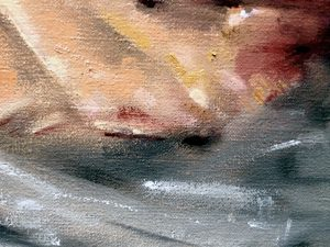 """Detail from a still life painting of a pig's head. Oil on linen, 24"""" x 20"""""""