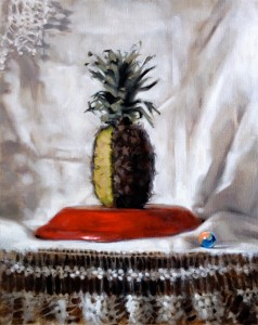 Still life painting of a pineapple by Helen Davison