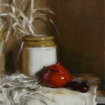 "'Red Pot, Warm Light'. Oil on linen panel, 10"" x 8"""