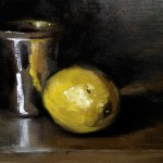 Still life oil painting of a lemon and silver beaker by Helen Davison