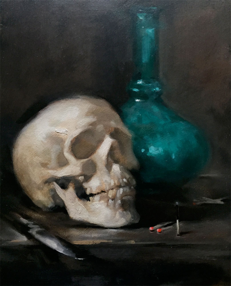 Still life oil painting of a skull and and other objects by Helen Davison