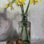 Still life oil painting of Tete a Tete Jonquils with walnuts by Helen Davison