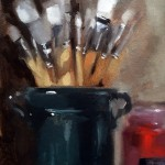 Still life oil painting of paintbrushes and pigments by Helen Davison