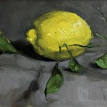 Still life oil painting of a lemon with its leaves by Helen Davison