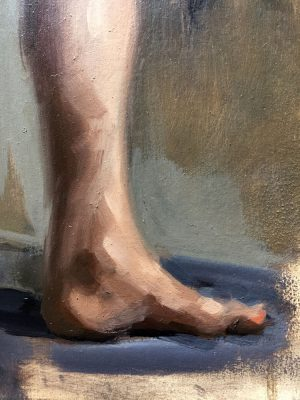 Detail of a nude oil painting by Helen Davison