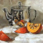 Still life oil painting of a squash with shiny teapot by Helen Davison