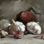 Still life oil painting of some garlic bulbs and a red onion by Helen Davison