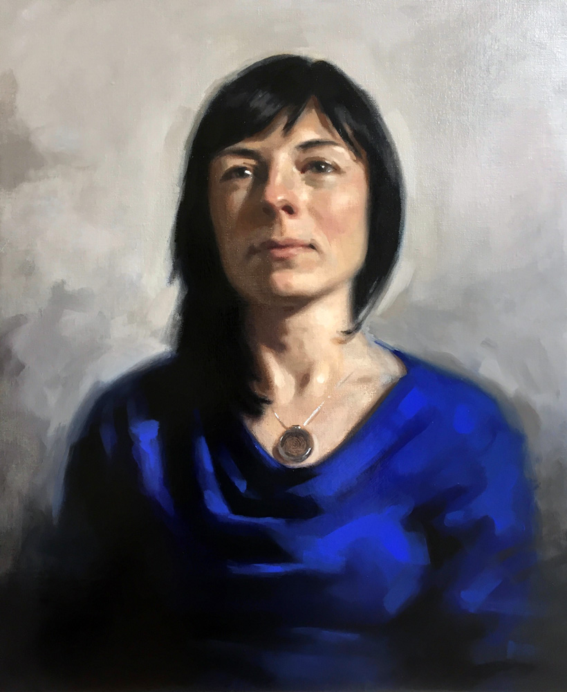 'Silent Prayer'. Oil portrait on linen, life size. 2015/6 by Helen Davison