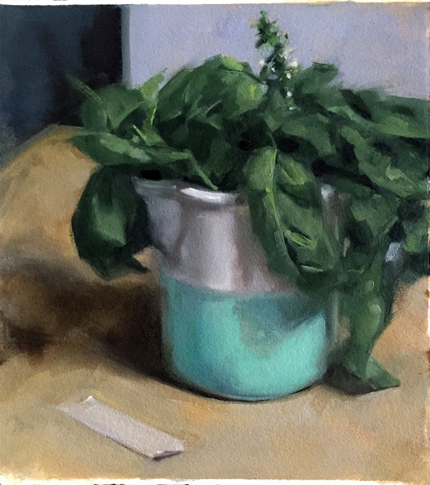 """""""Basil and tape"""", oil on Arches oil paper by Helen Davison"""