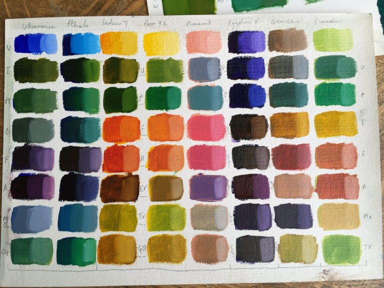 Oil painting colour chart