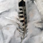 Still life oil painting of a feather by Helen Davison